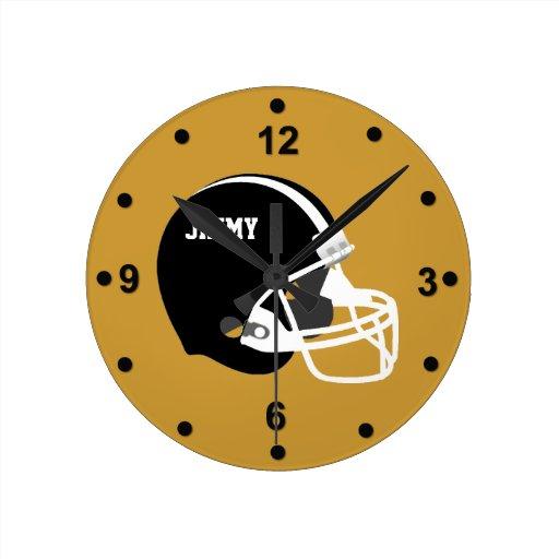 Football Design Wall Clock : Black white football helmet wall clock zazzle