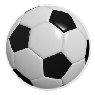 Black & White for Soccer Ball / Football Players Ceramic Knob