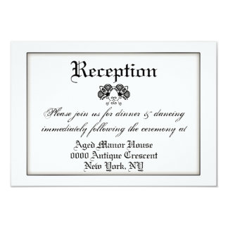 Black white formal vintage wedding 9 cm x 13 cm invitation card