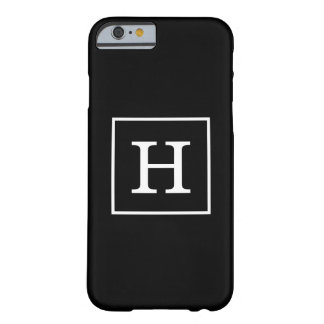 Black White Framed Initial Monogram Barely There iPhone 6 Case