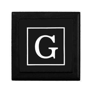 Black White Framed Initial Monogram Gift Box