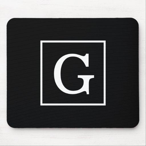 Black White Framed Initial Monogram Mousepad
