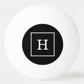 Black White Framed Initial Monogram Ping Pong Ball