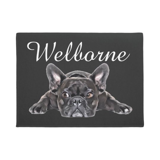 Black White French Bulldog Puppy Drawing Painted Doormat
