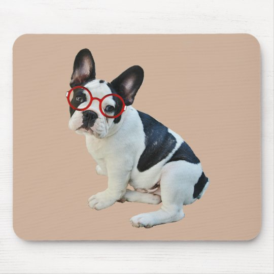 Black & White French Bulldog Wearing Red Glasses Mouse Mat