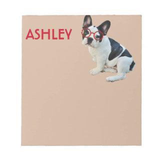 Black & White French Bulldog Wearing Red Glasses Notepad