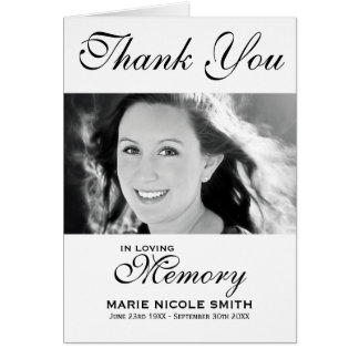 Black & White Funeral Thank You Personalized Photo Card