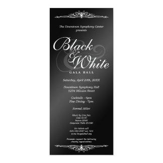 Black & white gala ball dance corporate tea length 10 cm x 24 cm invitation card