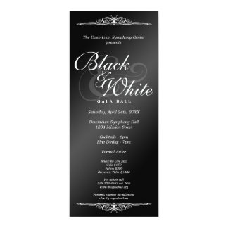 Black & white gala ball dance corporate tea length card