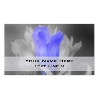 Black White Gentian Flower Business Card