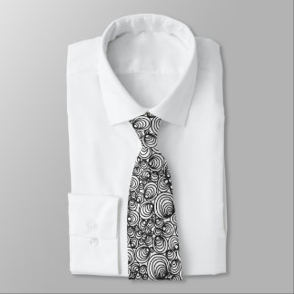 Black White Geometric Abstract Tie