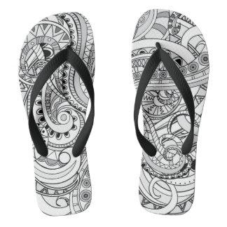 black&white geometric aztec pattern flip flops