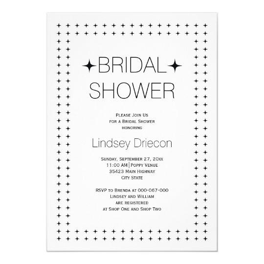 Black white geometric border wedding bridal shower card