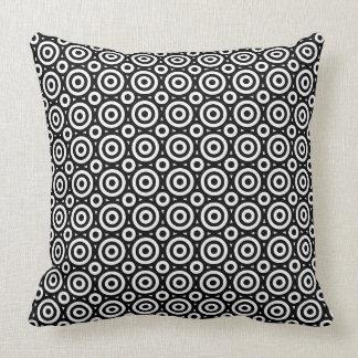 Black & White Geometric Circles Pattern Cushion