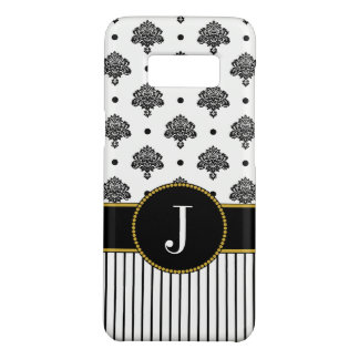 Black White Geometric Damask Dots | Gold Monogram Case-Mate Samsung Galaxy S8 Case