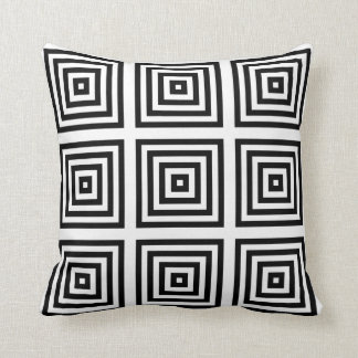 Black White Geometric Design Pillow Cushion