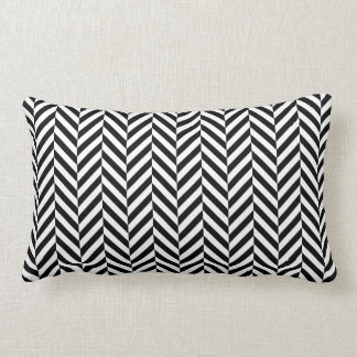 Black White Geometric Herringbone Pattern Lumbar Cushion