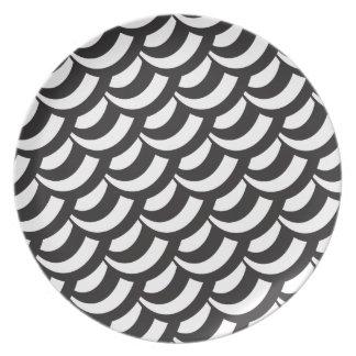 Black & White Geometric Pattern Plates