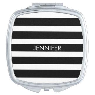 Black & White Geometric Stripes Pattern Travel Mirrors
