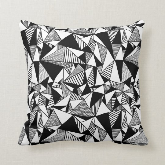 Black & White Geometric Throw Pillow
