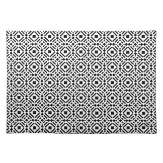 Black & White Geometric Tile Tessellation Pattern Placemat