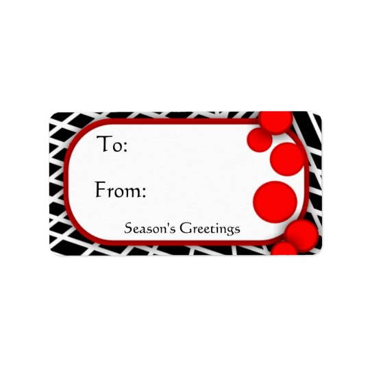 Black White Geometric with Red Dots Gift Tags