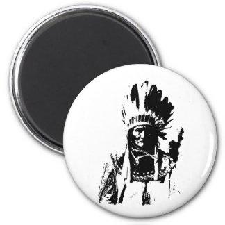 Black & White Geronimo 6 Cm Round Magnet
