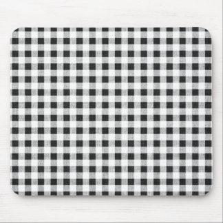 Black White Gingham Pattern Mouse Mat