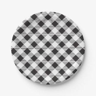 Black & White Gingham Pattern, Picnic, BBQ Paper Plate