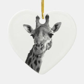 Black & White Giraffe Ceramic Heart Decoration