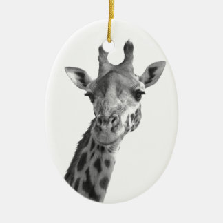 Black & White Giraffe Ceramic Oval Decoration