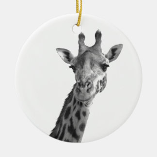 Black & White Giraffe Round Ceramic Decoration
