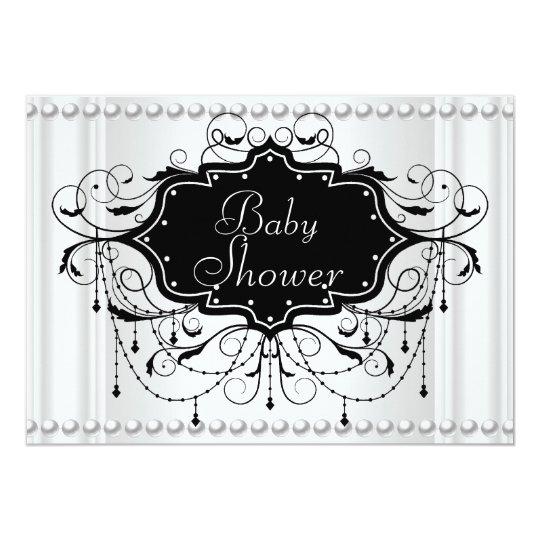 Black White Girl or Boy Baby Shower Baby Card