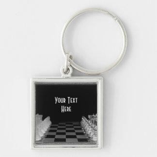 Black & White Glass Chess Board Game Key Ring