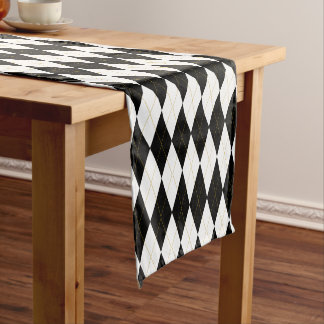Black | White | Gold Argyle Pattern Short Table Runner