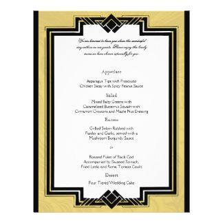 Black White Gold Art Deco Frame Wedding Menu 21.5 Cm X 28 Cm Flyer
