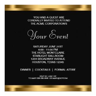 """Black White Gold Black Tie Corporate Party 5.25"""" Square Invitation Card"""