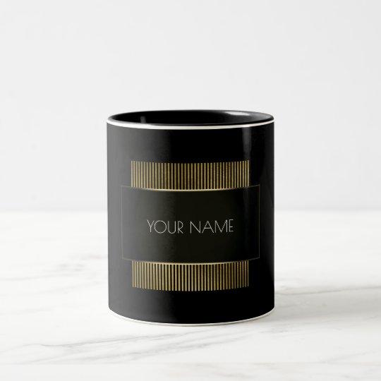 Black White Gold Conceptual Minimal Geometry Two-Tone Coffee