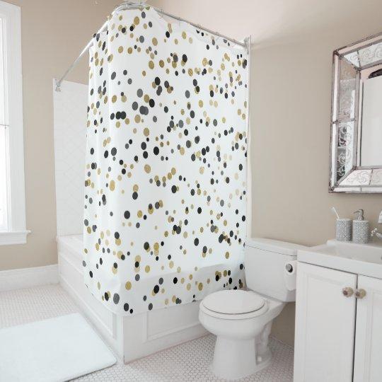 Black White Gold Confetti Dots Minimal Chic Glam