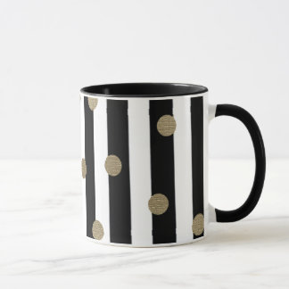 Black, White & Gold Dot & Stripe Mug
