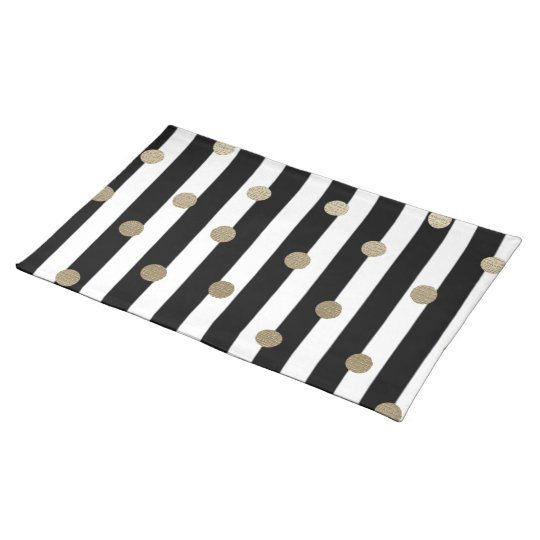 Black, White & Gold Dot & Stripe Placemat