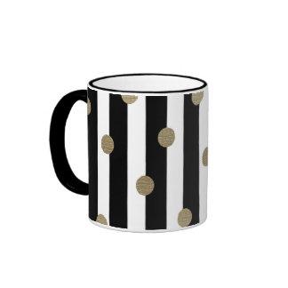 Black, White & Gold Dot & Stripe Ringer Mug