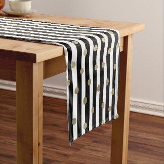 Black, White & Gold Dot & Stripe Short Table Runner