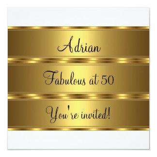 Black White & Gold Fabulous 50th Birthday Party 2 13 Cm X 13 Cm Square Invitation Card