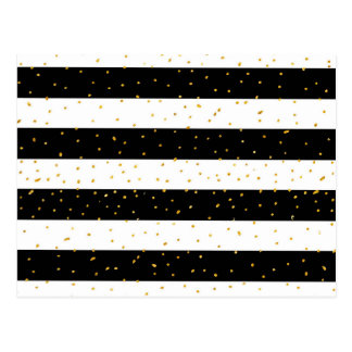 Black white gold faux glitter stripes polka dots postcard