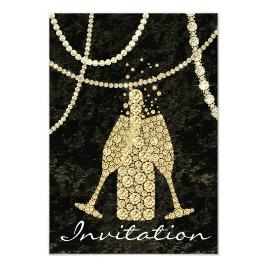 Black White Gold Glass Bubbles Champagne Toasting Card