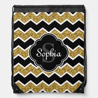 Black White Gold Glitter Chevron Pattern Drawstring Bag
