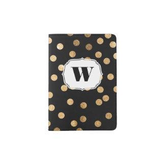 Black White Gold Glitter Monogram Passport Cover Passport Holder