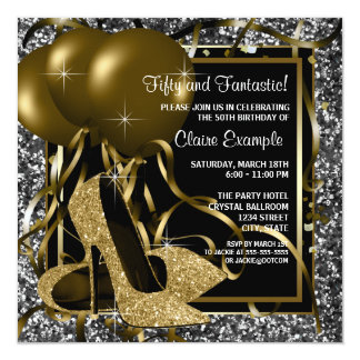 Black White Gold High Heels Womans Birthday Party Card