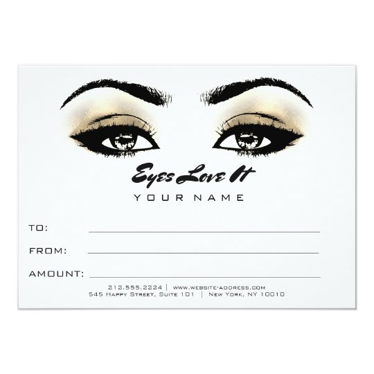 Black White Gold Makeup Certificate Gift Beauty Card
